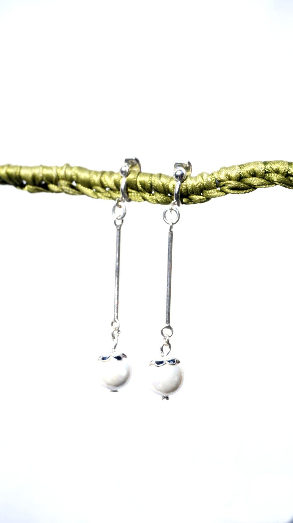 Argent 925 CLIPS Argent 925 Boucles d'oreilles Clips Perle Nacre Bijoux Création Française Vintage Fait main