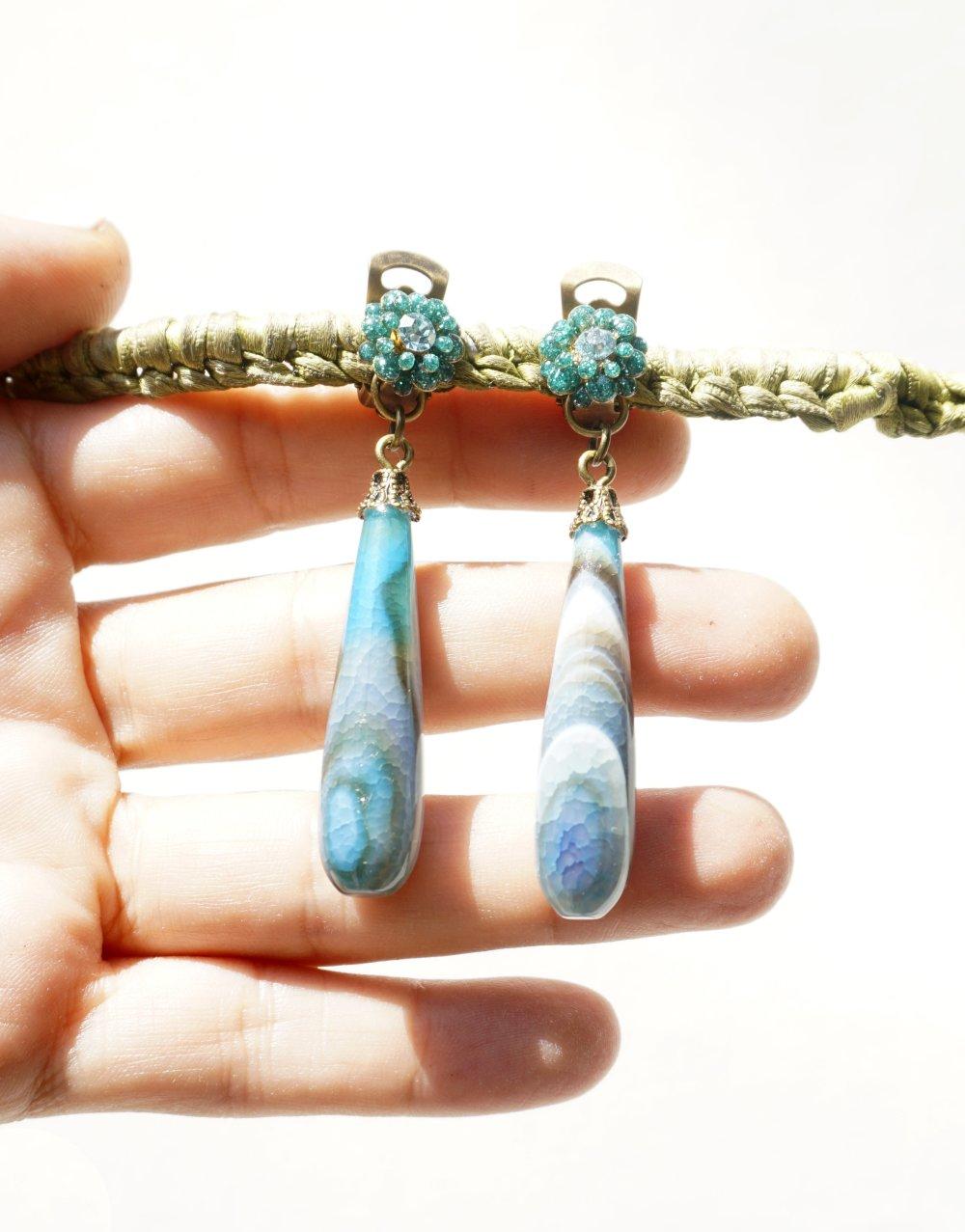 CLIP Boucles d'oreilles Clips Agate bleu & Bronze Fleur résine Cristal Bijoux créateur Création française