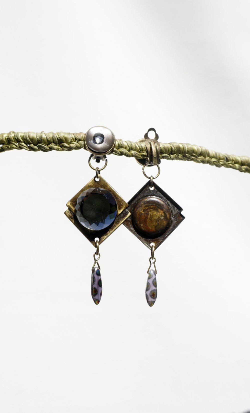 CLIPS Boucles d'oreilles Clips Gris & Bronze Perles cristal Estampe carré Bijoux créateur Création française