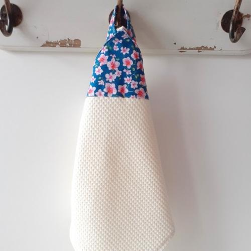 Essuie main en tissu éponge nid d'abeille et coton imprimé à fleurs -2