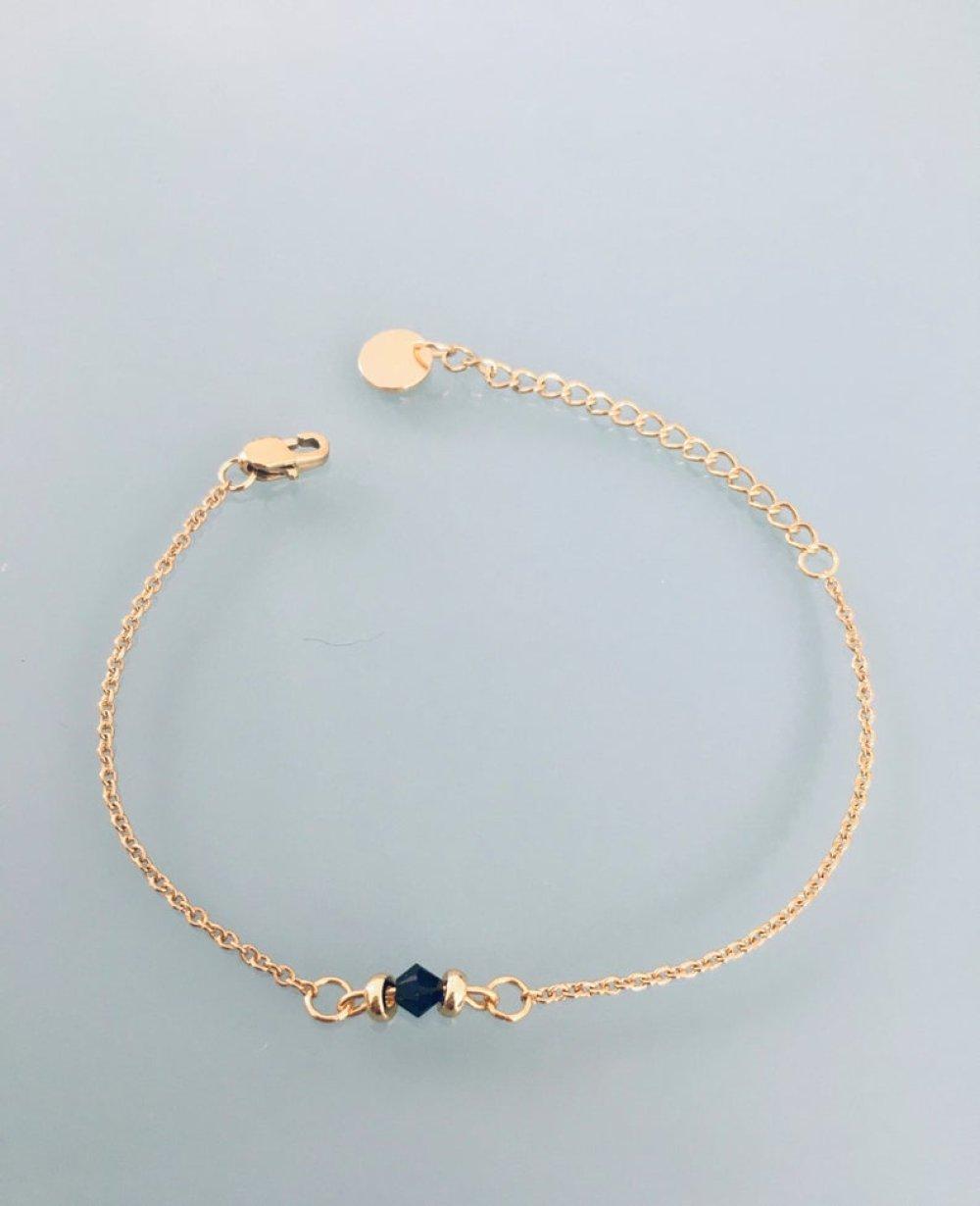 Bracelet femme gourmette pierre naturelle Swarovski et perles Heishi plaqué or 24 k