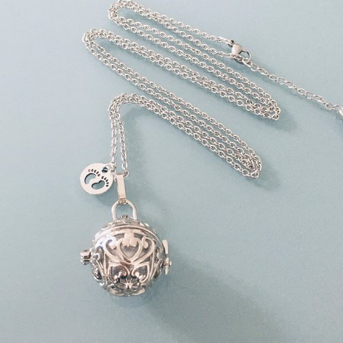 Bola de grossesse, collier bola de grossesse avec perle sonore et pendentif en argent