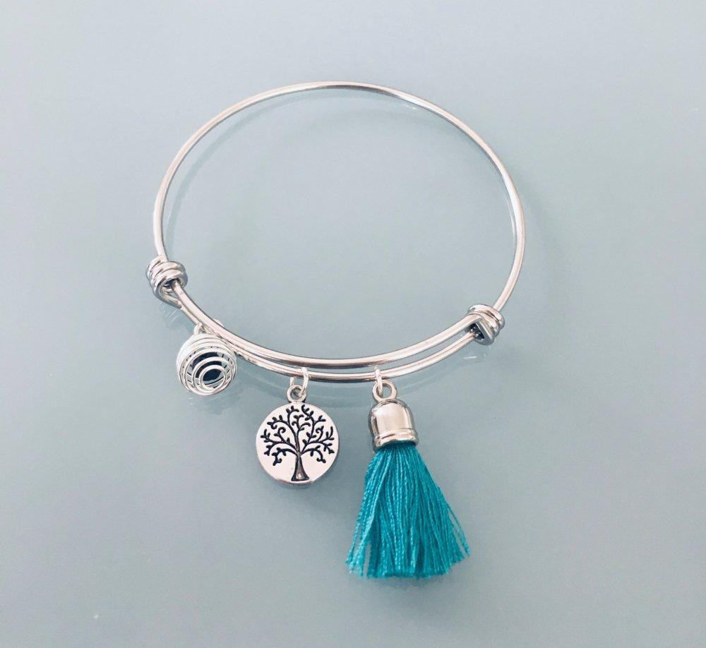 Bracelet jonc arbre de vie en argent avec pompon et une perle à parfumer, Bracelet Femme en argent, idée cadeau