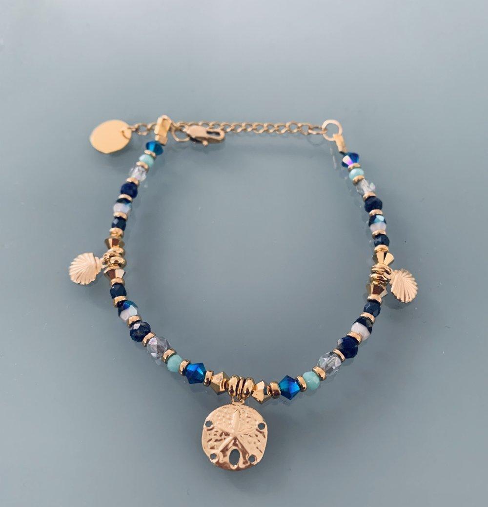 Bracelet femme gourmette pierres naturelles magiques Swarovski et perles Heishi plaqué or
