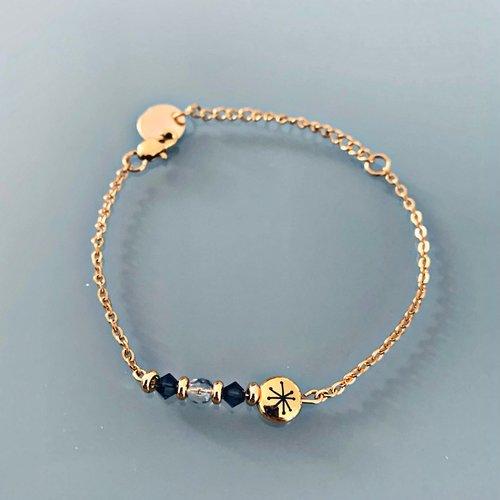 Bracelet gourmette constellation avec pierres swarovski, bracelet femme gourmette pierres naturelles magiques et perles heish