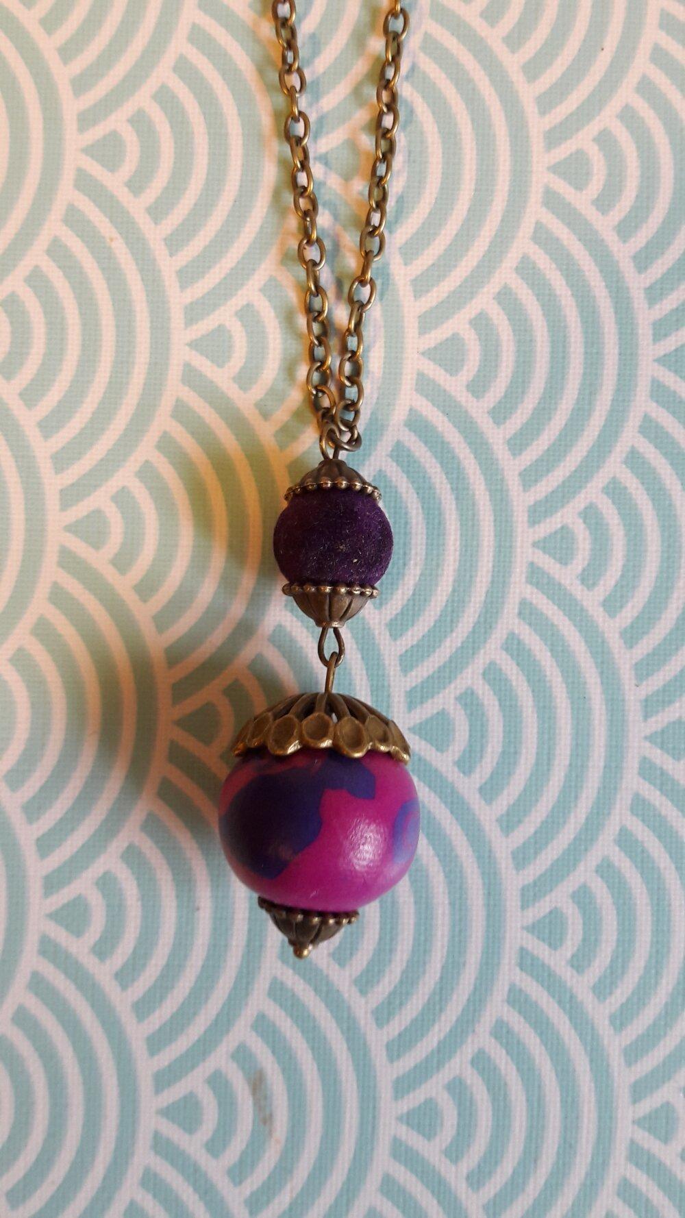 Sautoir Baroque rose et violet