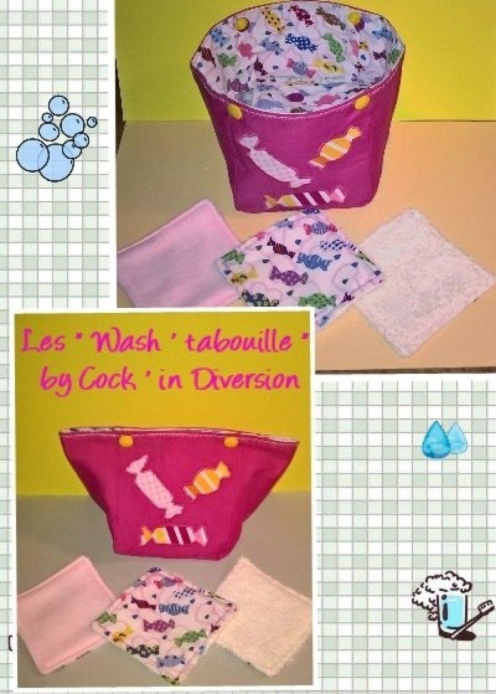 """14 lingettes lavables ( """" Wash ' tabouille """" ) et leur trousse refermable"""
