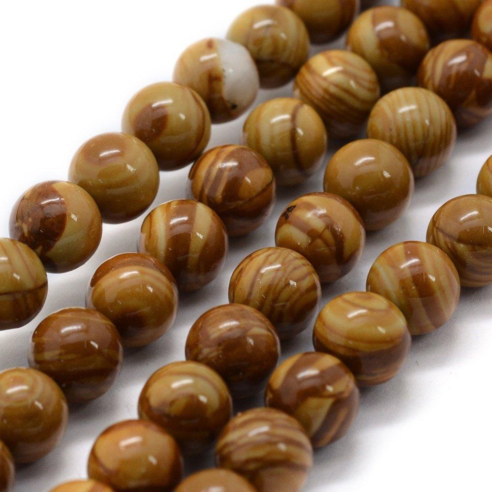 1 Fil de perles en pierre en bois naturel rond, 8mm