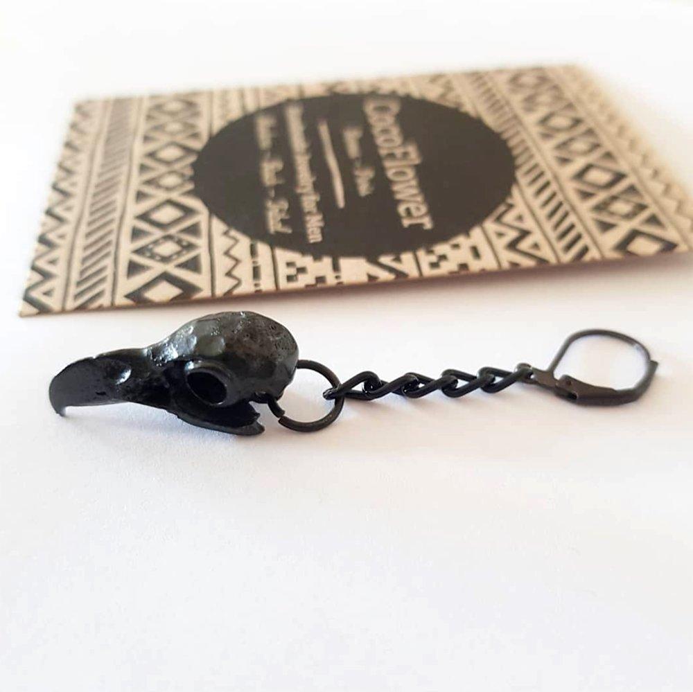 boucle d'oreille crane de corbeau - bijou noir homme - vendu à l'unité - cadeau pour lui