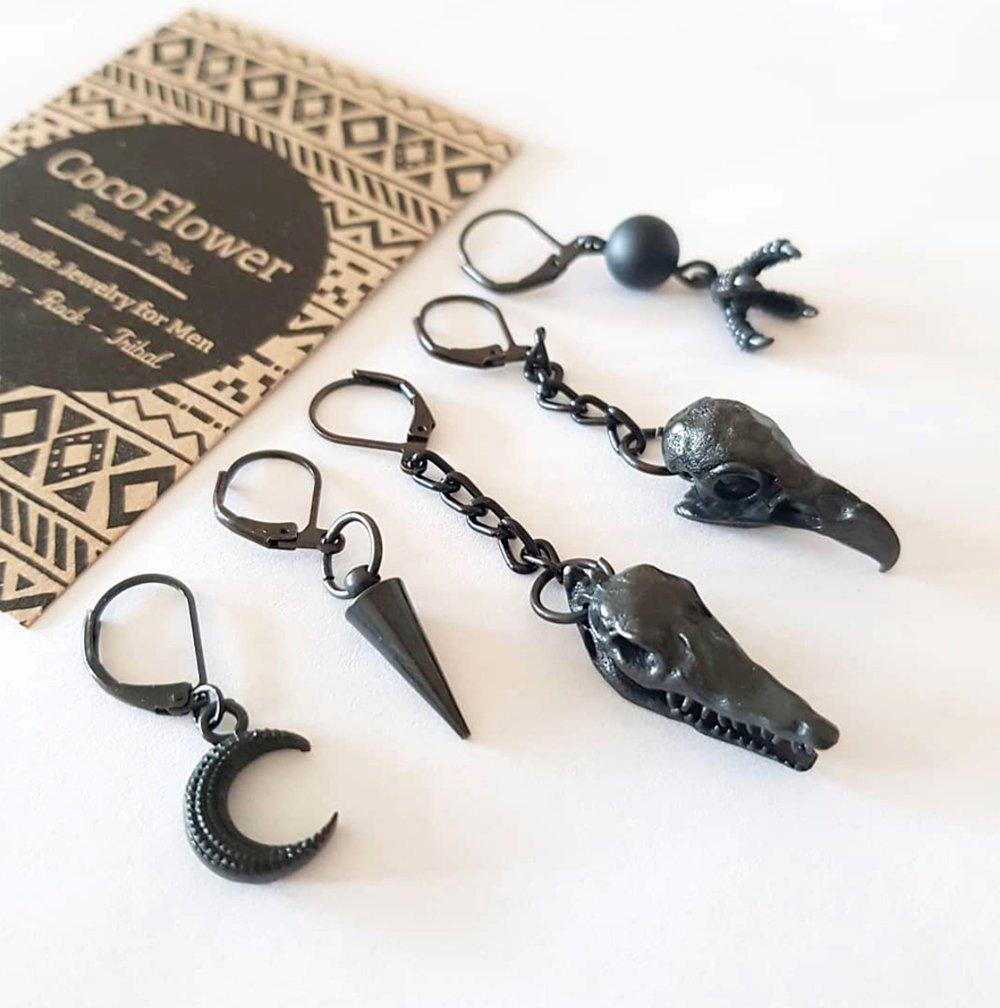 boucle d'oreille crane de crocodile - bijou noir homme - vendu à l'unité - cadeau pour lui