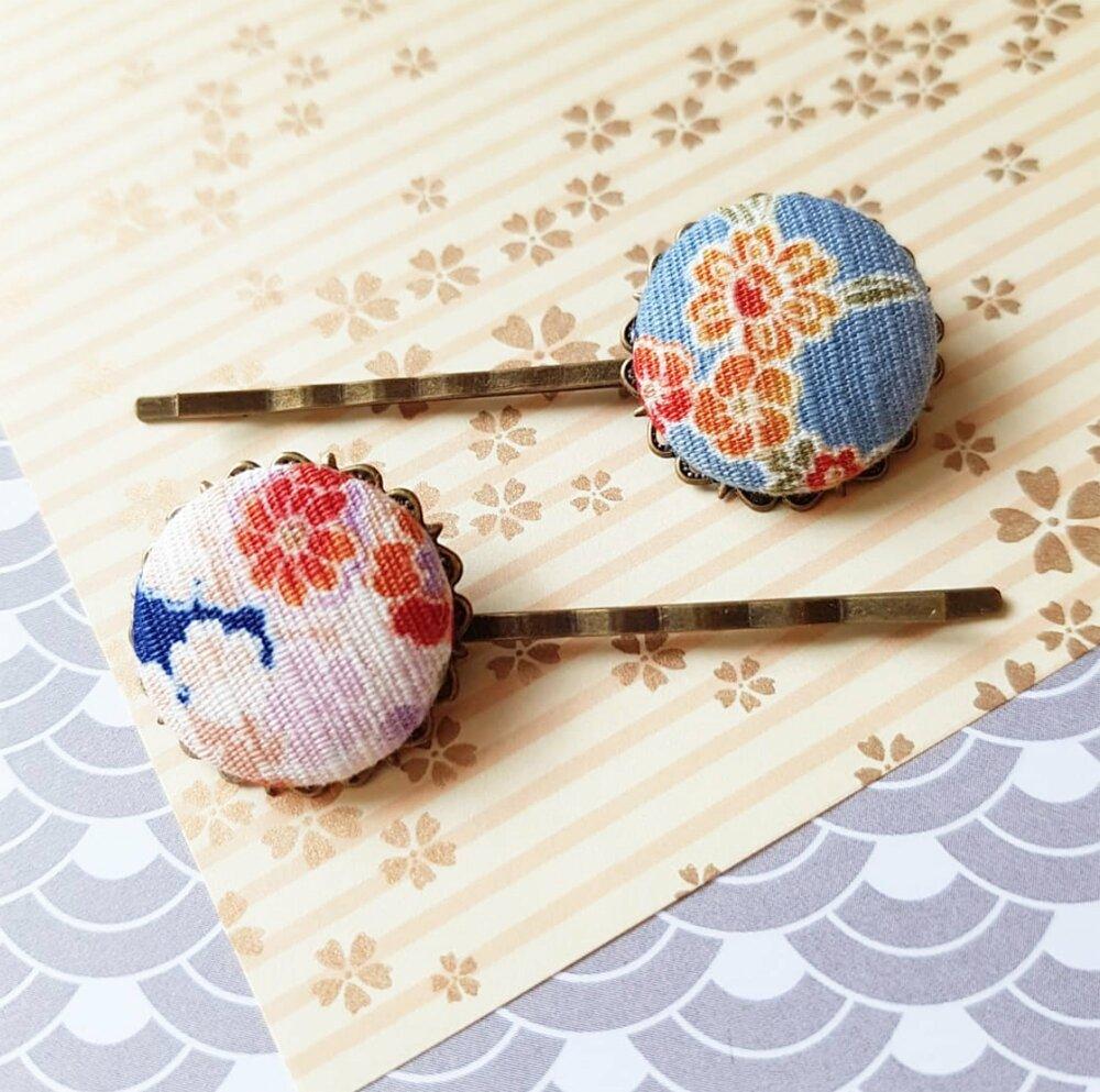 barrettes fleur de cerisier bleu, coiffure japon Asie
