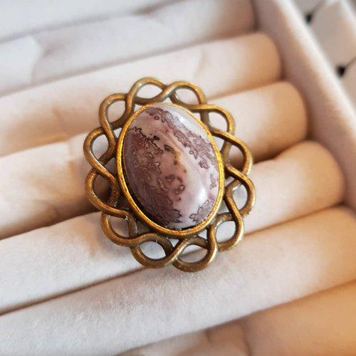 Bague pierre jaspe tacheté marron, ajustable au doigt, cabochon ovale