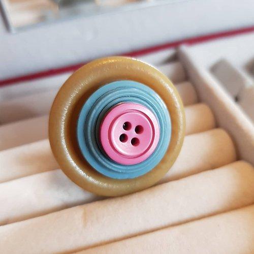 Bague avec bouton ancien, cadeau zéro déchet, ajustable au doigt