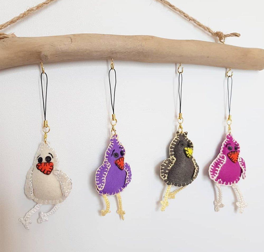 Porte clé oiseau, Bijou de sac pioupiou, animal en feutrine - modèle original CocoFlower