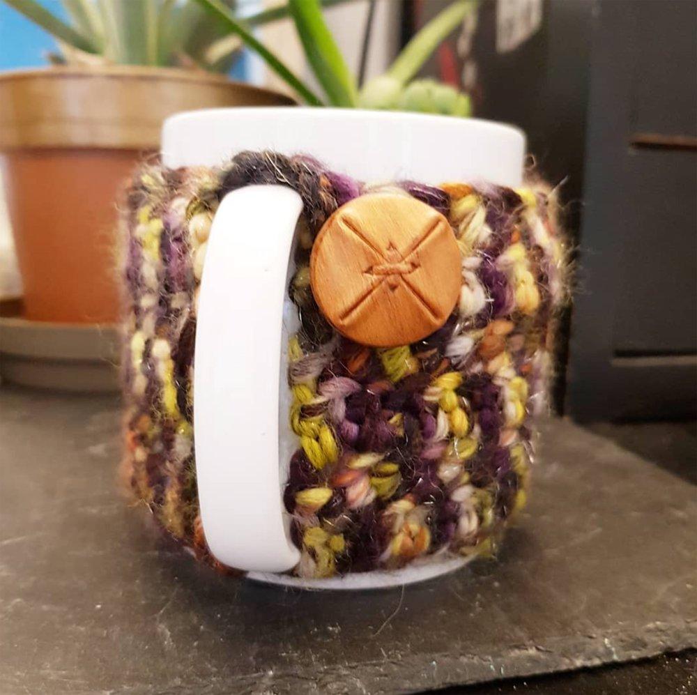 Housse de tasse en laine - Déco cozy mug rustique - idée cadeau pour homme - PRUNE CHINE