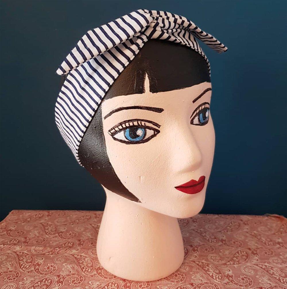 bandeau cheveux marin, tissu et fil de fer, accessoire coiffure femme rockabilly