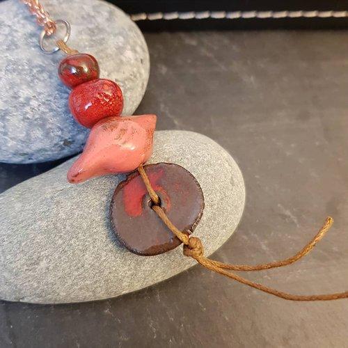 Collier pendentif oiseau rouge, bijoux ethniques femme, longueur chaine personnalisée