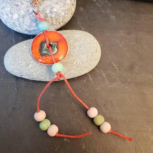 Collier pendentif donut orange, bijoux ethniques femme, longueur chaine personnalisée