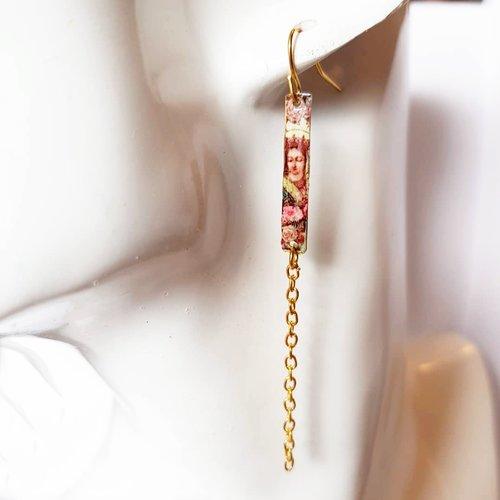 Boucles d'oreilles chaine motif reine