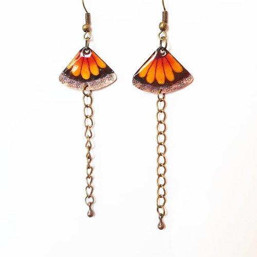 Boucles d'oreilles aile de papillon, pendantes cuivre émaillé artisanal, cadeau printemps femme