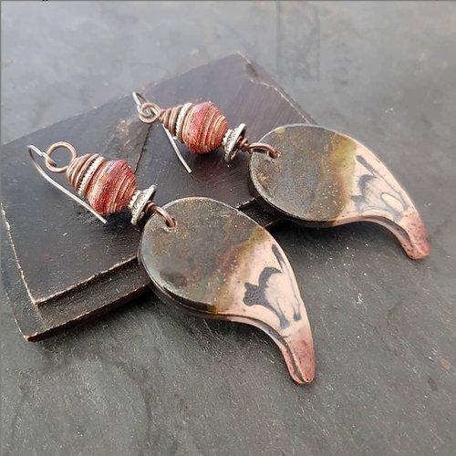 Boucles d'oreilles chat noir - crochet titane