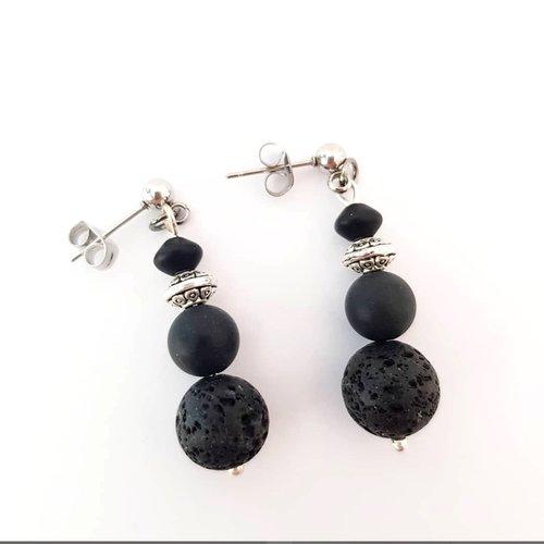 Boucles d'oreilles pierre noire onyx lave - bijou simple boheme