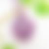 Collier médaillon crane de vache violet, bijou boheme chic