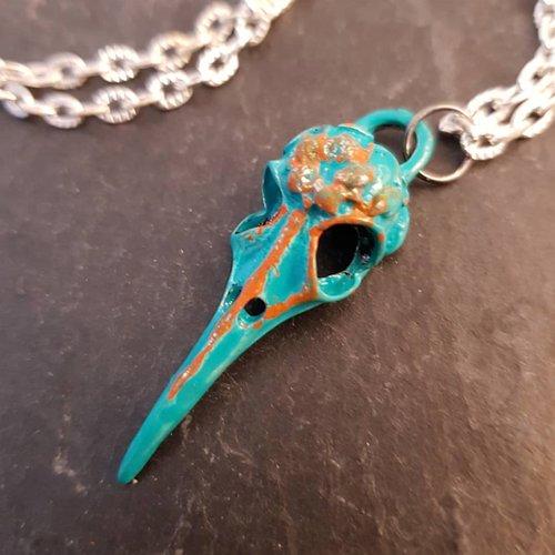 Collier crane de corbeau, bijou homme fausse taxidermie, collier oiseau squelette