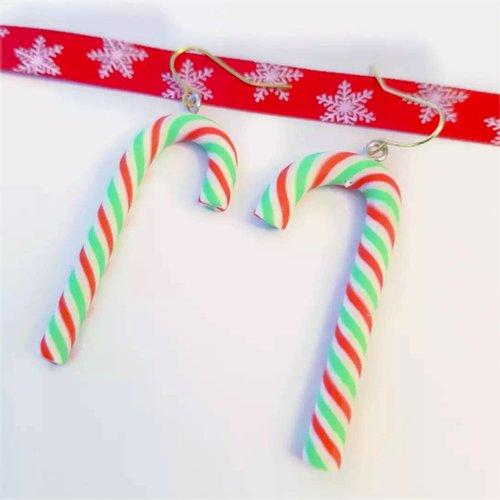 Boucles d'oreille sucre d'orge, bijou de noël, cadeau père noël secret, secret santa, tenue de fête, réveillon, 24 décembre