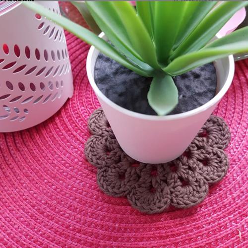 Mini sous verre marron, petit dessous de verre en coton, napperon crochet, décoration rustique cuisine maison