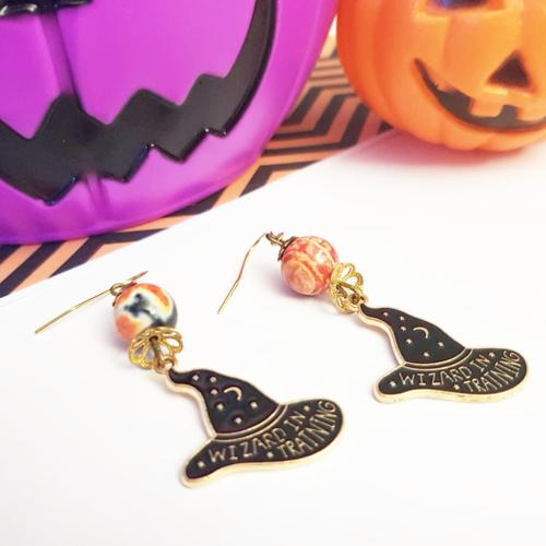 Halloween boucles d'oreille chapeau de sorcière noir orange
