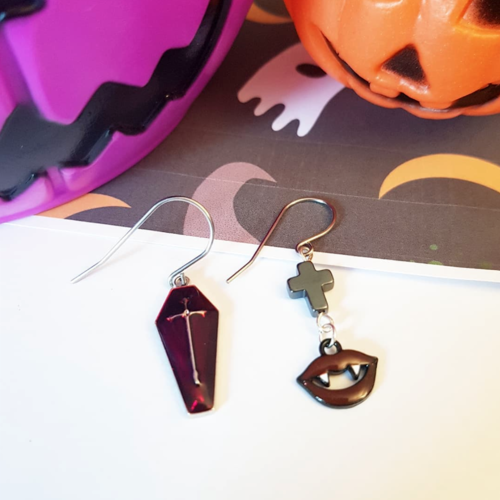 Halloween boucles d'oreille vampire et cercueil rouge velvet