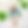 Collier plastron gris turquoise motif bohème arabesque