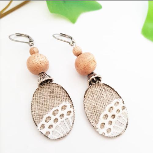 Boucles d'oreille romantique, pendante dentelle lin et bois de rose