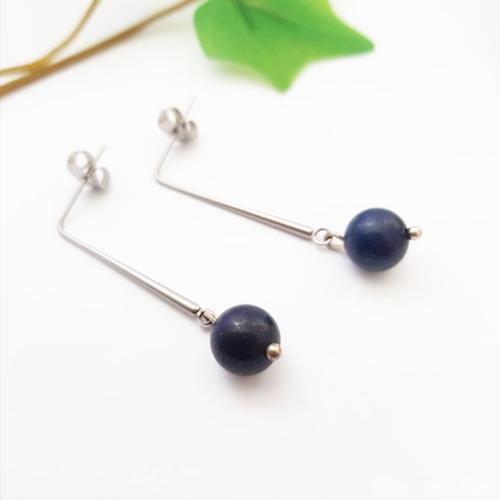 Boucles d'oreille lapis lazuli, bijoux minimalistes, puce acier inoxydable, bijou simple, boucles d'oreilles élégante