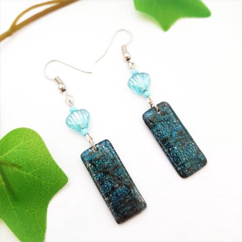 Boucles d'oreille coquille saint jacques, turquoise bleu nuit, bijou coquillage