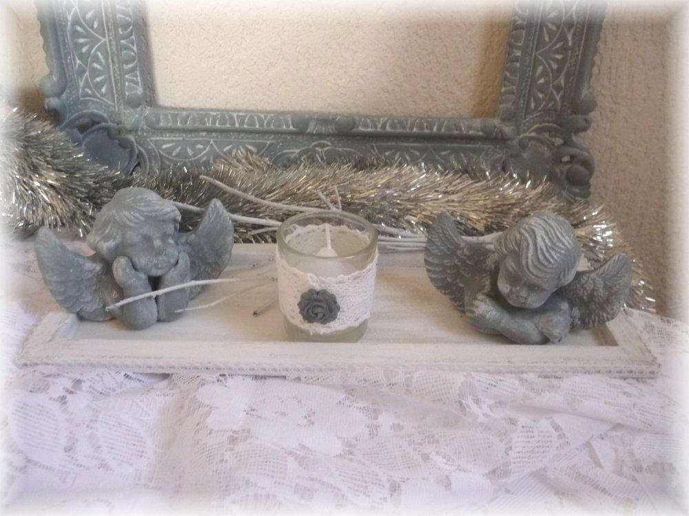 Deux anges , photophore,plateau, Noel, déco