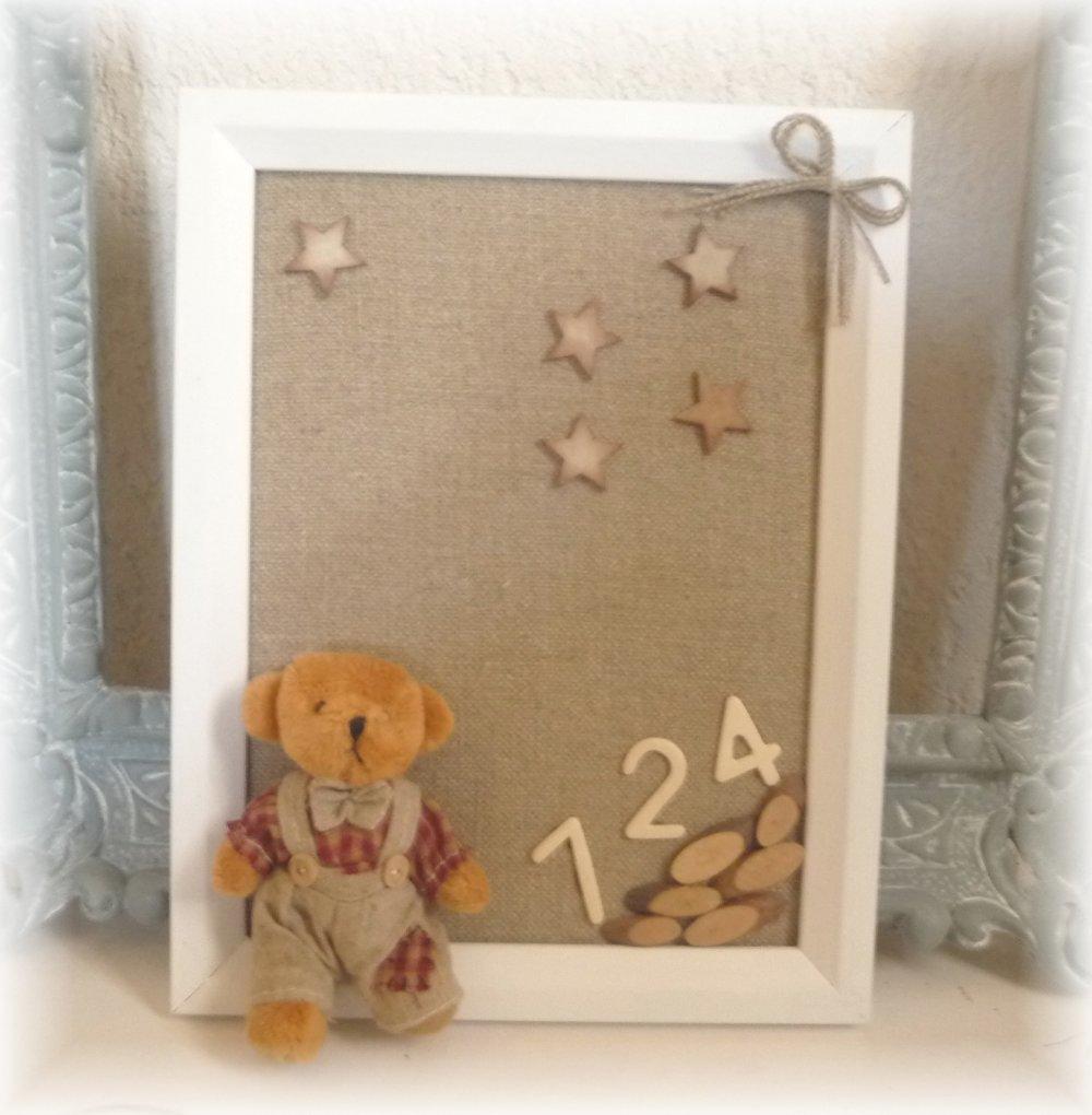 Joli cadre enfant ourson déco chambre vintage étoiles