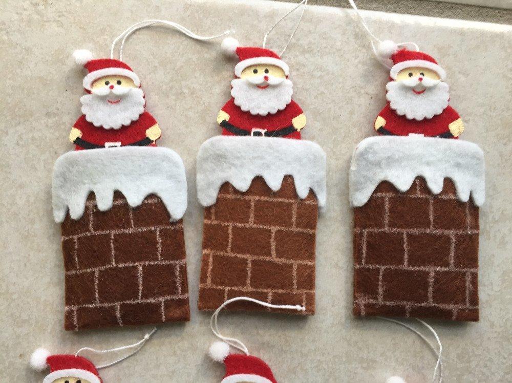 lot de 3 pere noel cheminé en feutrine ,décoration de noel,boule de noel