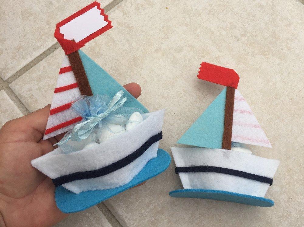Lot de 15 bateau ,sachet de dragée,baptême,mariage,communion,boite dragée ,théme marin ,bateau en feutrine