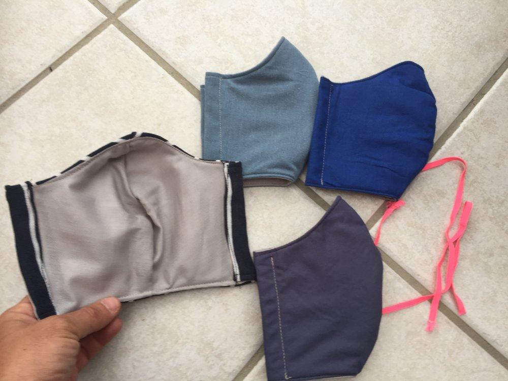 lot de 4 , masque en tissu 3 épaisseurs ,masque barriere