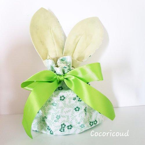 Sac lapin / pochon à oreilles de lapin / cadeau enfants / pochette de rangement