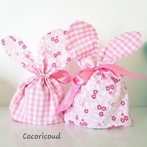 Lot de 3 sacs oreilles de lapin / pochon / pochette cadeau / panier de rangement