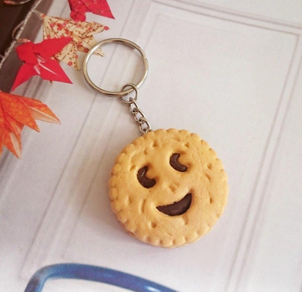 Porte-clés BN au chocolat Fimo biscuit