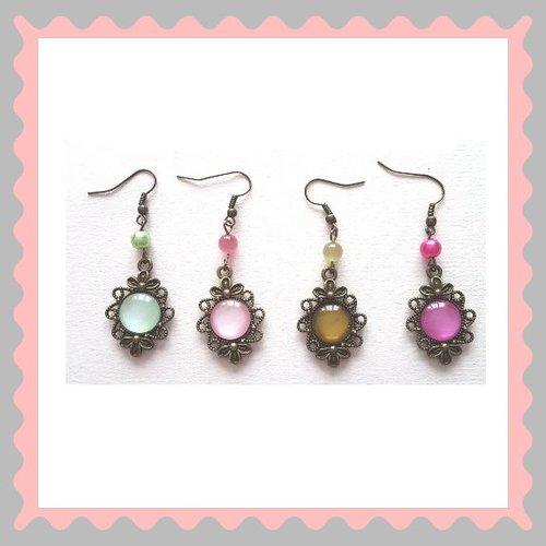 Boucles d'oreille crochet inox cabochon oeil de chat differents coloris support métal couleur bronze