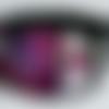 Collier ras de cou, style col, en tissu et dentelle, gris rose et noir, strass en cristal et paillettes, fermoir bouton, pièce unique