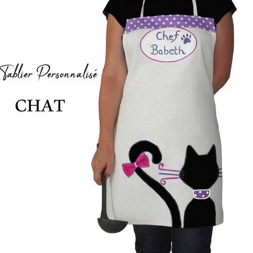 Tablier femme chat noir personnalisé