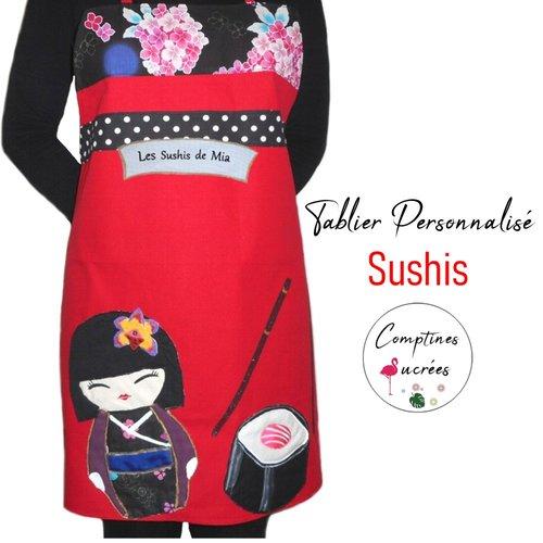 Tablier rouge asiatique personnalisé avec kokeshi et sushi
