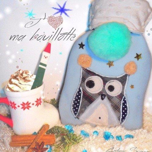 Bouillotte eau 1 litre avec housse chouette en polaire bleue avec pompon