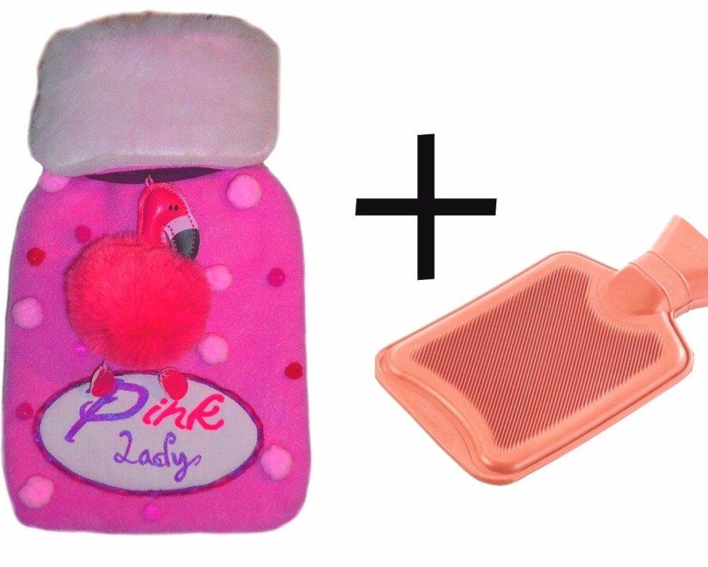 Belle bouillotte à eau caoutchouc en polaire rose, pompon et flamant rose
